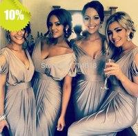 Free Shipping Long Cheap Bridesmaid Dresses 2014 New Arrival Sheath V-Neck Ruffles Ruched Chiffon Maid of Honor Dress