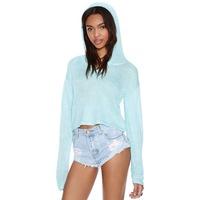 Free Shipping 2014 New Autumn 141M001 Casual Plaid Long Sleeve Mint Blue Short Pullovers Irregular Hem Hooded Sweater Of Women