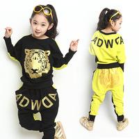 New Arrivals Fashion 2014 Spring Autumn Cartoon Children's Clothing Suit Sets Girls Cotton Sweater Tiger Pattern Kids Sportswear