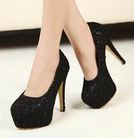 Elegant Lace Platform Pumps Bridal Black Red Beige 13cm Thin High Heels Pumps Wedding Shoes 0788