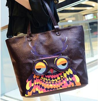 2014 Новый женский Печать Жираф & Owl Сумочка сумка женские кожаные сумки Сумка Женщины сцепления плече сумки Бесплатная доставка