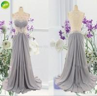 2014 Junoesque Cheap Bridesmaid Dresses Sheer Back Ruffles Lace Applique Long Free Shipping Gray Chiffon Maid of Honor Dress
