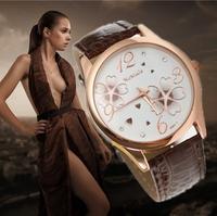Fashion Brand Women Dress Watches Leather Strap Flower Dial Ladies Casual Clock Women Rhinestone Watches