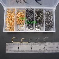 FISHING HOOK KIT 300PCS 2color fishing hooks carp iseama with eye HC-6