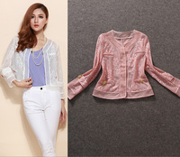 Top QualityNew Fashion Jacket Autumn Women Lace Silk Patchwork Hollow Out Design Small Thin Short Jacket Outerwear Casual Tops