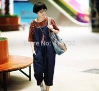 Free Shipping 2014 New Fashionable Denim Bib Pants For Women Elegant Loose Plus Size Harem Pants Big Crotch Jumpsuit And Rompers