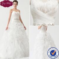 Goingwedding Actual Image 2014 Online High Low Sweetheart  Feather Wedding Dress Organza Ruffles Skirt With Beaded Belt NW24068
