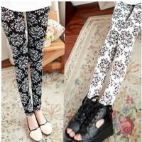 New 2014 Spring Summer Women's Vintage Print Pants Casuel Fashion Ladies Super-elastic Leggings Capris[240221]