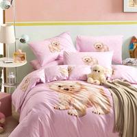 5-pieces 3d queen king size comforter set/quilt/duvet set bed in a bag pink bedding bear duvet cover girl comforter