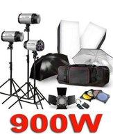 900W PHOTO STUDIO LIGHTING FLASH STROBE KIT PHOTOGRAPHY LIGHT 3 X 300W +WIRELESS TRIGGER +Barn Door +SOFTBOX +UMBRELLA +BAG