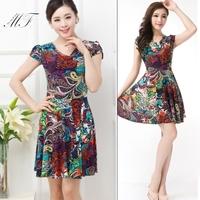 Plus Size Women Clothing Dress Full Size Print Fit Dress Fshion Women zara2014 vestido de festa
