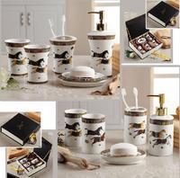 Hot Sales Luxury Famous Bathroom accessories European Style Ceramic Five-piece Bathroom Set Best Birthday Married Gift