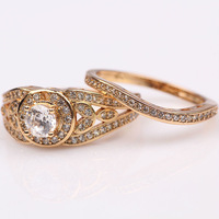 noble Solitaire 18k yellow gold Filled womens mens ring clear Crystals Jewelry for wedding