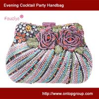 Multicolor diamond studded handbag - ideal bag for wedding party - rose bouquet clutch handbag