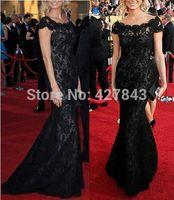 Black Off Shoulder Lace Mermaid Evening Dress vestido de renda Long Evening Gown 2014 Custom Made