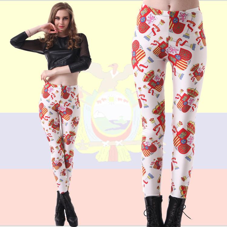 2014 Spring thin section Star Digital Printing Wholesale Spanish flag was thin sexy leggings L3226(China (Mainland))