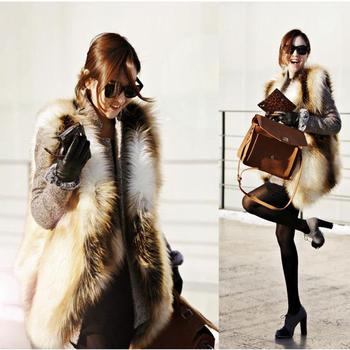Luxury Женщиныs Leather Мех Жилет Winter Fox Мех Soft Warm Талияcoat 6 8 10 12 14