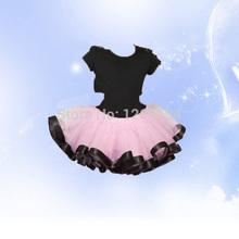 Infant Girl Wear Satin Trim Tutu Skirts New Style Ribbon Sewn Trimmed Tutu Girl Pink Skirts With Black Ribbon Free Shipping(China (Mainland))