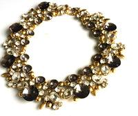 Retro fashion Glass Crystal women chunky necklace women fashion Collar luxury party jewelry free shipping