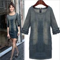 free shipping light blue dress Washed denim fashion dress with half sleeves o neck dress women