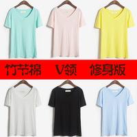 Bamboo cotton macaron solid color shirt slim basic V-neck T-shirt short-sleeve shirt female summer
