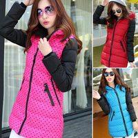 high quality 2014 new winter women's coat Plus size L,XL,XXL long coat down jacket dot down parka coats hooded 965