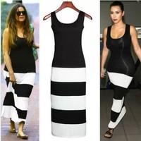 European and American stars Women Fashion dresses black and white stripe splicing dress Maxi Long Dress S-XXL