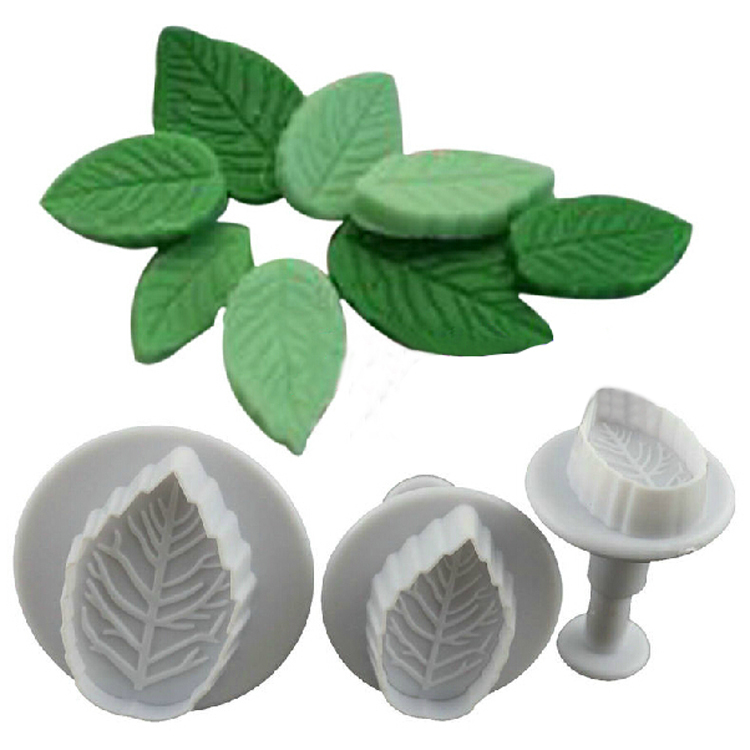 Hot Sale New 3 Pcs Cake Rose Leaf Plunger Fondant Decorating Sugar Craft Mold Cutter Tools Drop Shiping HG-1072(China (Mainland))