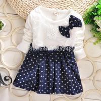 Girl clothes new 2014 autumn Girls dot bow baby dress baby girls dress kids clothing children's infant dress