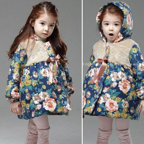 New 2014 Girls Winter Coat Warm Coat Children Outerwear Winter For Girls Baby Fashion Flower Coats Girls Cotton Jacket CO03(China (Mainland))