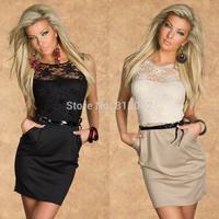 2014 New Fashion Women Black M L Plus Size Floral Embroidery Bodycon OL Office Lady Casual Dress Mini Dress