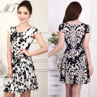 Free shipping New Women Summer Dress 2014 Women's Fashion Dress Women Clothing Casual Dresses XL 2XL 3XL 4XL