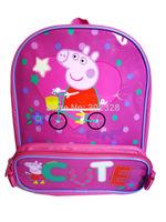 Retail Peppa pig backpack and pencil case children school bags for girls mochila infantil peppa pig bolsas mochilas school kids