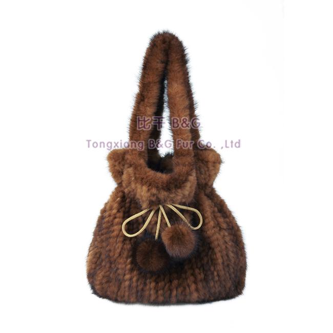 BG30421 New Fashion Knitted Mink Fur Bags Winter Women Bags Wholesale Retail Women Handbag(China (Mainland))