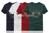 Free shipping 2014 new arrive summer brand contton men t-shirts t shirt for sunglasses printed fashion short sleeve t-shirt