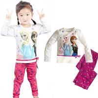 2014 New Arrived  frozen girls Anna Elsa long sleeve Autumn Winter pajamas sleepr 100%cotton 1 sets=2pcs Free shipping X315