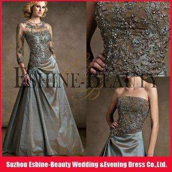 Glamorous frisado bordado com manga longa Bolero Andar de comprimento tafetá mãe da noiva