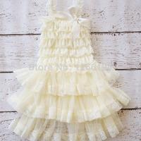 2014 Flower Girl Fall Lace Ruffle Petti Dresses Newest Hot Selling Lace Layered Dress Chiffon Ruffle Wedding Dress Free Shipping