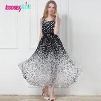 Fashion women dress 2014 summer new casual ladies clothes elastic waist black and white dot chiffon tank long dress