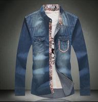 New 2014 Autumn  Fashion  Casual jeans shirt men  long Sleeve  Big Size  Camiseta  shirts  M2835  S M L XL XXL XXXL 4XL 5XL