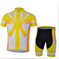 Raytheon Yellow White Bike Cycling Clothing Bicycle Wear Suit Short Sleeve Jersey + (Bib) Shorts S-3XL  CC1017