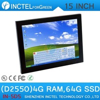 High quanlity 15 inch all in one computer with high temperature 5 wire Gtouch industrial embedded 4: 3 6COM LPT 4G RAM 64G SSD