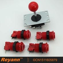 Новый Reyann аркадных комплект 4 x Happ стандартный аркады кнопка + аркада джойстик для игровых автоматов борьба игры 6 цвет доступны