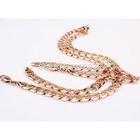 Mens 18k Rose Gold Filled Curb Chain Necklace+bracelet set 60cm long 0.8cm wide