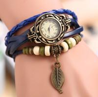 2014 new fashion Genuine Leather Vintage quartz Watches relogio feminino  bracelet Wristwatches Leaf Pendant Free Shipping
