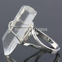 1Pc Clear Rock Quartz Crystal Gem Stone Sticks Wire Wrap Adjustable Finger Ring Jewelry