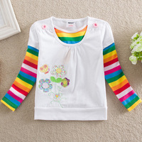815 Promotional 2014 spring and autumn new girls cotton embroidered long-sleeved t-shirt