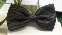 2014  Fashion High Quality Black Plaid Polyster Bow tie