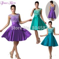 Elegant Grace Karin A-line V-Back Sleeveless Wedding Party Vestidos Ball Lace Evening Short Prom Formal Dress Green AL16 CL6116