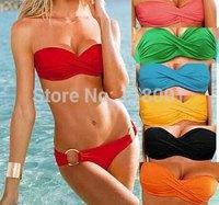 free shipping 2014 sexy women muti-color underwire and padded  bikini swim suit and swim wear